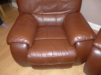 Leather armchair cleaned